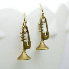 Trumpet Earrings, Antique Bronze Finish Vintage Style Charm Pendant Trump Music
