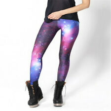 Mujeres Galaxy Violeta Leggings Espacio Estampado Pantalones Leche Talla Grande
