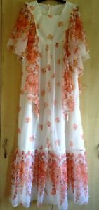 Vintage Bridesmaid Dress 1970's White Floaty Draped Angel Sleeves Size S