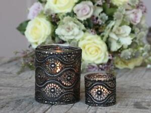 Antique Silver Metal Glass Eye Design Candle Holder, Tea Light Votive Pot, Small