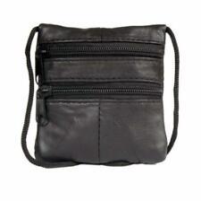 New Real Leather Shoulder Mini Neck Purse Cross Body Travel Satchel Bag Black