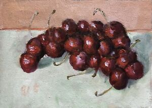 Still Life with Cherry original oil painting Impressionism