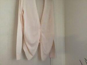 Cardigan Pale Pink V Neck, Long Sleeve, Gathered Sides, Viscose Blend L Witchery