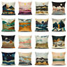 Linen Cojines Nature Mountain Pillow Case Outdoor Forest Sun Moon Cushion Covers