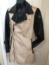 Rud Rudsak Genuine Leather Sleeves Asymmetrical Zip Jacket Coat Sz M/S