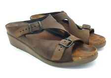 Mephisto Mobils Wedge Sandals Shoes Sz 40 US 9 / 9.5 Brown Leather Womens 1AB