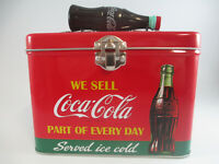 Coca-Cola Train Case Plastic Bottle Handle Latching Close Tin Served Ice Cold