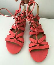BANANA REPUBLIC Telly Coral Leather Coral Studs Gladiator Flat Sandals 7M