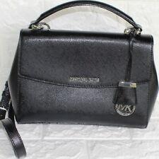 Michael Kors Ava Top Handle Sleek Black Saffiano Leather Shoulder Handbag