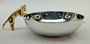 "Michael Aram Stainless Steel and Gold Cat BOWL (7.5""L x 5""W x 2.25""H)"