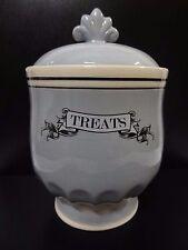 """Furry Friends """"Treats"""" Ceramic Treat Pet Jar 7"""" Height ~ Grey ~ Dtj539-07Gy"""