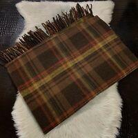 Pendleton Woolen Mills Throw Fringe BrownPlaid 100% Pure Virgin Wool Blanket USA