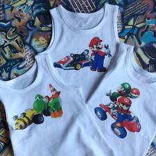 3 Pack Super Mario Mario Kart Cartoon Boys Vests & Sirt T-shirt