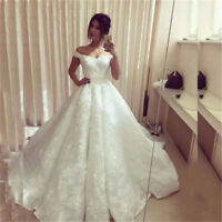 Ivory/White Wedding Dress Bridal Gown Off-Shoulder Lace A-Line Cap Sleeve Custom
