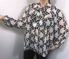 Pussy Bow Blouse Tie Neck Puff Sleeves Oversized Swing Style White Black NEW