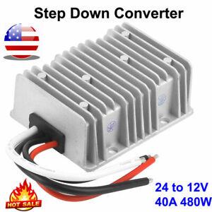 Converter Voltage Reducer 24V Step Down to 12V 40A480W Die-Cast Aluminum Housing
