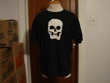 Vintage White Skull Black T Shirt Size XL