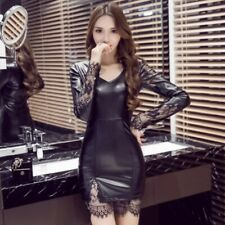 Nightclub Women Faux Leather Bodycon Dress Sexy Lace Party Mini Package Hip New