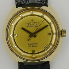 "Zenith Chronometer ""Captain de Luxe"" 18ct Gold Herren Automatik aus den 70er J."