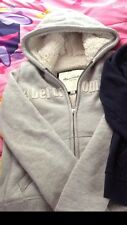 Abercrombie Hoodie Winter Heavy Sherpa Lined Size Kids XL or Ladies XS Gray Cute