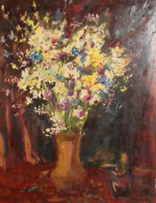 European art 1984 oil painting still life with flowers signed