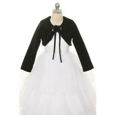 Black Flower Girl Bolero Jacket Coat Wrap Shawl Wedding Winter Christmas Pageant