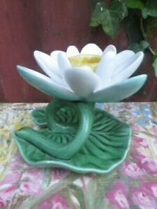 Mid Century Majolica Style Ceramic Lily Pad Candle Holder