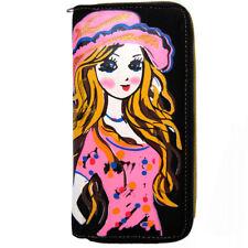 portefeuille porte monnaie noir femme manga blonde T-shirt pois chapeau rose or