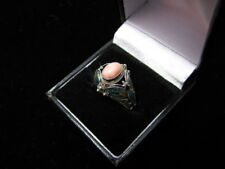 Enamle Butterfly with Pink Coral Oval Stone Ring Size 8