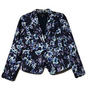 Ann Taylor Womens Blue Floral Blazer Size Petite 6P