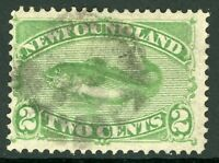 Canada 1896 Newfoundland 2 Cent Yellow Green Fish Scott #46 VFU Z822
