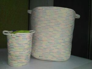 2 count Baby Delicate Woven Cotton Rope Baskets * Laundry Toy Organizer * NEW