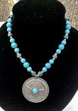 Turquoise Silver Necklace Metal Pendant Hippy Aztec Tribal Festival Boho Ethnic