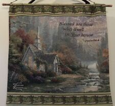 Thomas Kinkade Tapestry Wall Hanging PSALM 84:4 Scripture Verse Art Creekside