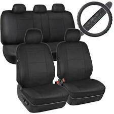 Black PU Leather Car Seat Covers/Cushion Comfort Grip Steering Wheel Cover