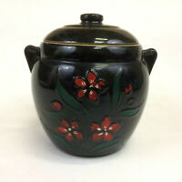 Stoneware Crock Cookie Jar Bean Pot with Lid Black with Red Flowers Vintage
