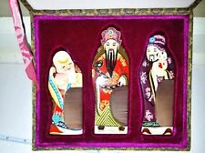 Authentic VINTAGE Asian Gong Shu Ming Bi WOOD COMB SET in Decorative Padded Case