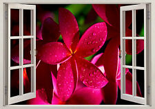 Beautiful Flowers Roses Pink Daisy 3d Effect Window Wall View Sticker Poster 339