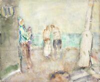 Rainer Zille (1945-2005) sign. Aquarell, Gouache, Küstenpromenade mit Passanten
