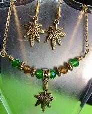 Marijuana Leaf Jewelry Crystal Set leaf Charm Choker Plus Earrings