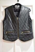 Vintage Blue Duck Quality Black Quilted Leather Zip Up Vest Sz S Perfect!