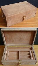 Grand coffret  boite à bijoux en bois et cuir Ancien vers 1960