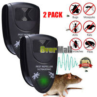 2xUltrasonic Electronic Anti Mosquito Mice Insect Pest Bug Repeller Killer Black