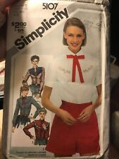 Vintage SIMPLICITY 5107 MS Western Shirts & Tie PATTERN Bust 32.5-33.5 6-8 Uncut