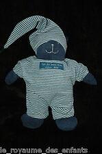 Doudou Hochet Grelot Ours fais de beaux rêves DPAM bébé bleu marine rayé bonnet
