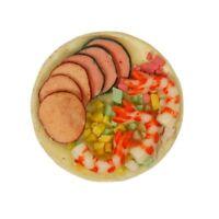 1:12 Meeresfrüchtesalat auf einem Teller Puppenhaus Miniatur Lebensmittelzubehör