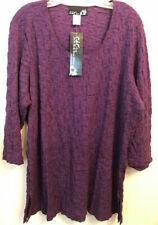 Carolyn Strauss CSC Studio Collection NWT 3/4 Sleeve Tunic Purple Plus SZ 2X.//F