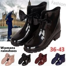 Fashion Womens Bowknot Rain Boots Non-slip Boots Waterproof Shoes Large Size New