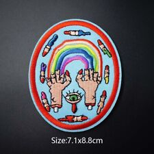 Eyes Rainbow Sew On Iron On Patch Embroidered Badge Fabric Applique Patches