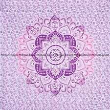 Indian pink floral cotton mandala ethnic tapestry wall hanging bedspread throw